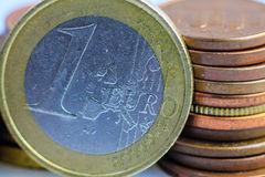 One euro coins macro photo, euros close up. Royalty Free Stock Photography