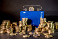 One euro coins. With money-box backround euro coins Stock Photography