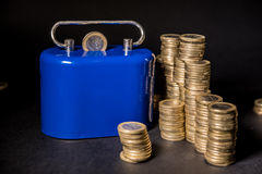 One euro coins. With money box,black backround Royalty Free Stock Photo