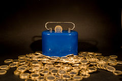 One euro coins. With money box,black backround Stock Photo