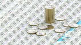 One Euro coins on spreadsheet Royalty Free Stock Photo
