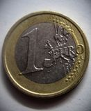 One euro curency coin. royalty free stock photo