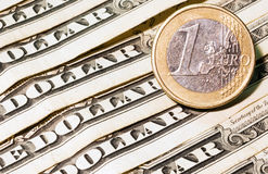 One euro and dollar banknotes Stock Photos