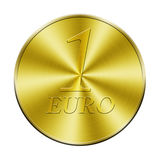 One euro golden coin. Isolated in white Royalty Free Stock Image