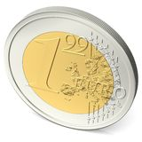 One euro ninety-nine coin from above Royalty Free Stock Photography