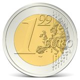 One euro ninety-nine coin from the front Royalty Free Stock Photo