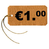 One euro tag label. Price tag with string isolated over white, 1 euro Royalty Free Stock Image