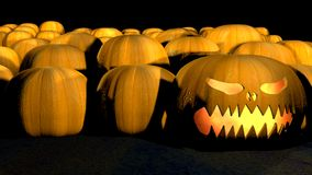 One evil halloween pumpkin with fire in it stock footage