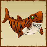 One evil tiger shark, vector cartoon character Stock Images