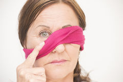 One eye blindfolded attractive woman Royalty Free Stock Photography