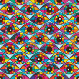 One eye colorful horizontal seamless pattern Royalty Free Stock Images