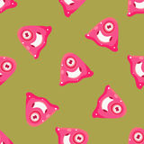 One-Eyed Alien Seamless Pattern. In Childish Simple Cartoon Flat Vector Design With One Repeating Element Royalty Free Stock Image