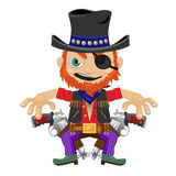One-eyed bandit with guns, character in wild West Royalty Free Stock Photo