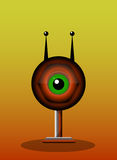 One-Eyed Creature, illustration. One-Eyed Creature, Red Monster, Big Alien Eye with Antennae and Stand, vector illustration Stock Image