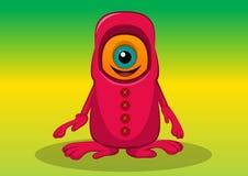 One-eyed Creature, illustration. One-eyed Creature, Orange and Red Monster, Big Alien Eye, vector illustration Stock Image