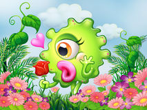 A one-eyed green monster at the garden. Illustration of a one-eyed green monster at the garden Royalty Free Stock Photo