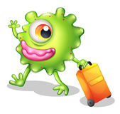 A one-eyed green monster moving. Illustration of a one-eyed green monster moving on a white background Royalty Free Stock Photography