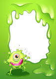 A one-eyed green monster with a pink lips. Illustration of a one-eyed green monster with a pink lips Stock Photo