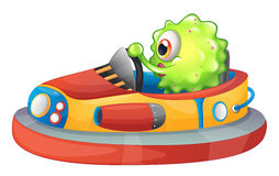 A one-eyed monster riding a car Royalty Free Stock Images