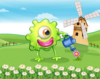 A one-eyed monster watering the plant at the hilltop. Illustration of a one-eyed monster watering the plant at the hilltop Stock Photography