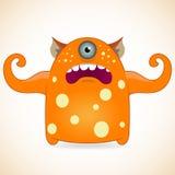 One-eyed orange monster. Cartoon funny one-eyed orange monster Royalty Free Stock Photo