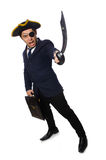 One eyed pirate with briefcase and sword isolated Stock Images