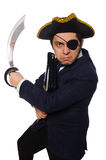 One eyed pirate with briefcase and sword isolated Stock Photo