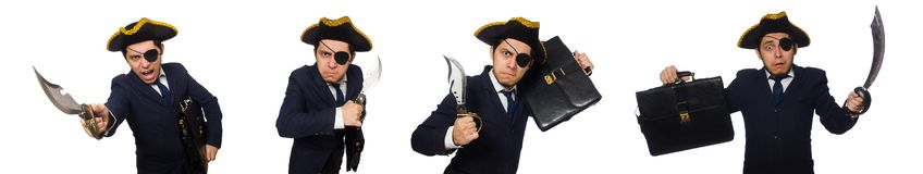 The one eyed pirate with briefcase and sword isolated on white stock images