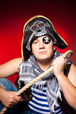 One-eyed pirate with a cocked hat and a rope Stock Photography