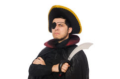 One eyed pirate with sword isolated on white Stock Images