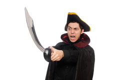 One eyed pirate with sword isolated on white Stock Photo