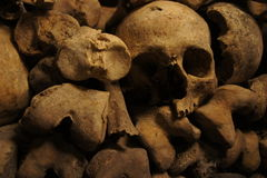 A one-eyed skull among bones in the Paris catacombs Royalty Free Stock Photo