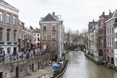 One of the famous canals in Utrecht, Netherlands Royalty Free Stock Photography