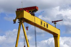 One of the famous yellow Harland and Wolff cranes. In the Titanic Quarter of Belfast royalty free stock photography