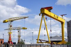 One of the famous yellow Harland and Wolff cranes in Belfast stock images