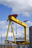 One of the famous yellow Harland and Wolff cranes. In the Titanic Quarter of Belfast royalty free stock photo