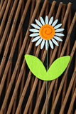 One Daisy Flower Wooden Background. One felt material craft daisy flower embellishment on textured wooden background still life photo Stock Photos