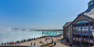 One of a few vistas at Niagara Falls.  Tourist Observation platforms next to mall. Stock Photography