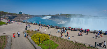 One of a few vistas at Niagara Falls.  Tourist Observation platforms next to mall. Royalty Free Stock Image