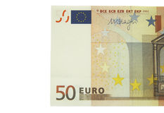 One of fifty euro banknote isolated on the white background Royalty Free Stock Images