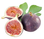 One fig and cut fig. Royalty Free Stock Image