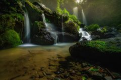 One fine morning. Grenjengan kembar waterfall Royalty Free Stock Photography