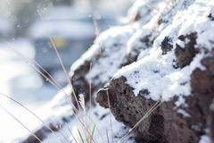 Close-up of Snow on the Rocks stock photos