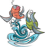 One Fish Two Fish. Two cartoon fish jumping out of water. Layered vector and high resolution jpeg files available Stock Photography