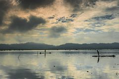 One fisherman on bamboo raft. Fisherman view on bamboo raft rides in water Stock Image