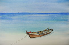 One fishing boat on beautiful beach watercolor painting Royalty Free Stock Photo