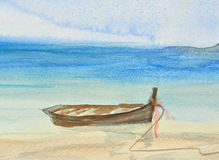 One fishing boat on beautiful beach watercolor painting. Hand drawn painting Royalty Free Stock Photo