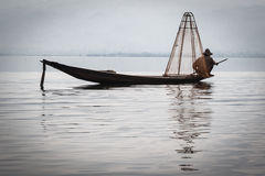 One fishman at Inle Lake Stock Photos
