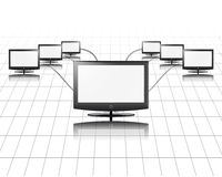 One flat panel connects to other. S, network, internet, media concept Royalty Free Stock Image