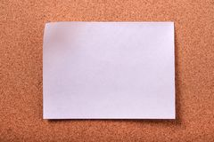 One flat white sticky post note cork board background Stock Photography